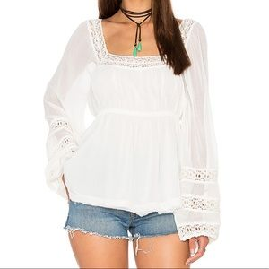 Free People ivory Moonchaser peasant top